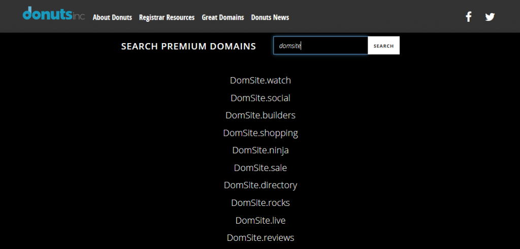 Premium domain search with Donuts Inc